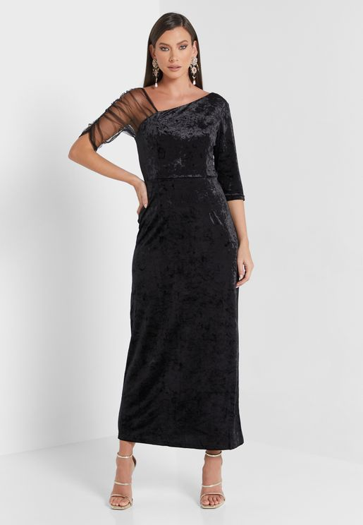 فستان مخملي مع كم تول