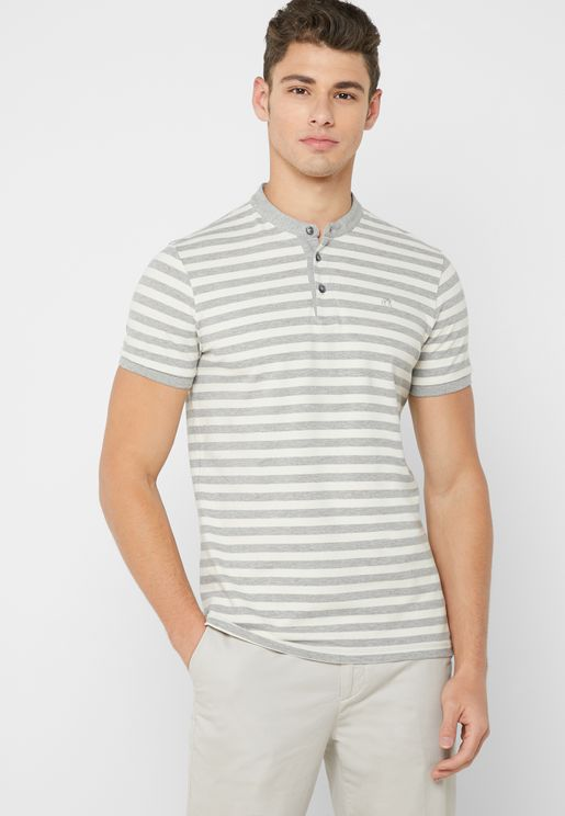 Grandad ColloarStriped Polo
