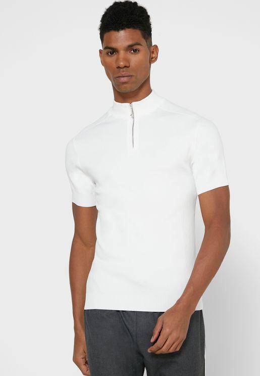Half Zip Crew Neck T-Shirt