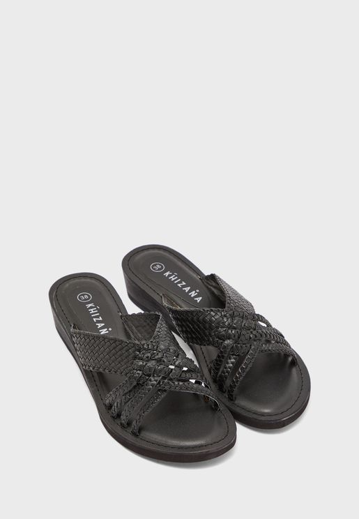 Leather Weave Wedge Sandal