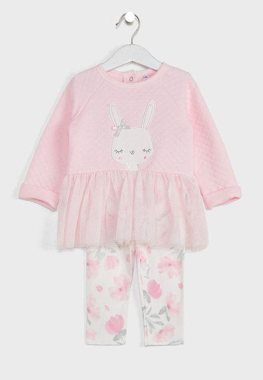 Infant Bunny Quilted Tutu Dress And Legging Set