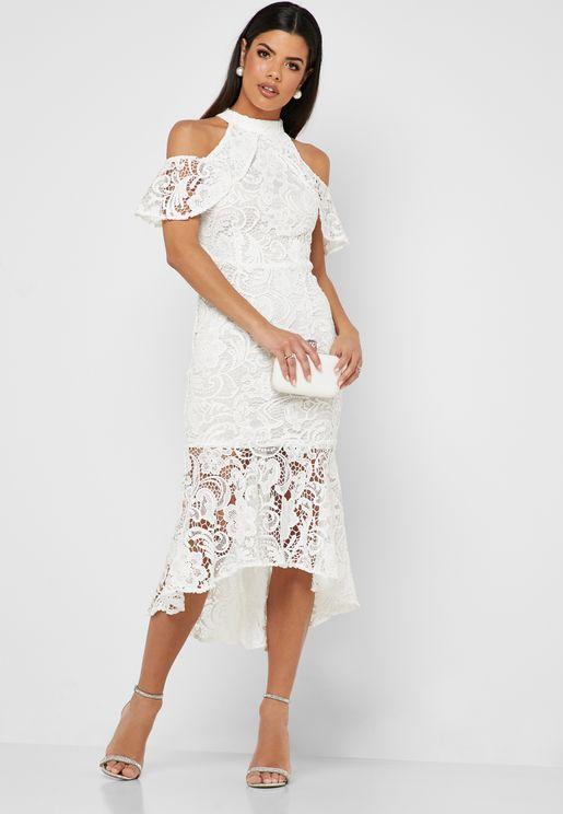 High Neck Cold Shoulder Lace Dress