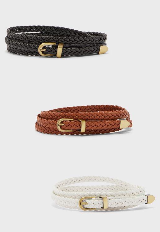 Pack Of 3 Skinny Plaited Belt
