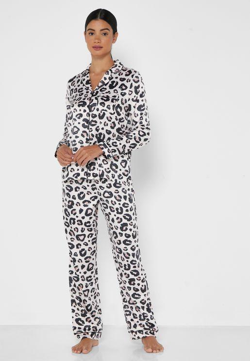 Leopard Print Satin Pyjama Set