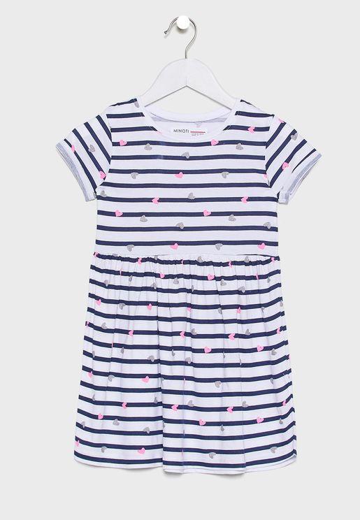 Little Roll Sleeve Striped Dress