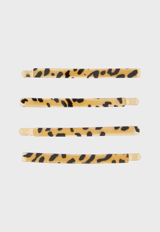 Kids 4 Pack Leopard Resin Head Clips