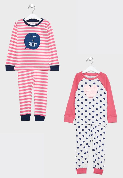 Kids 2 Pack Sleepy Pyjama Set