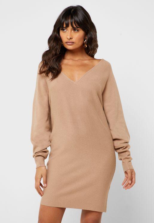 V-Neck Sweat Dress