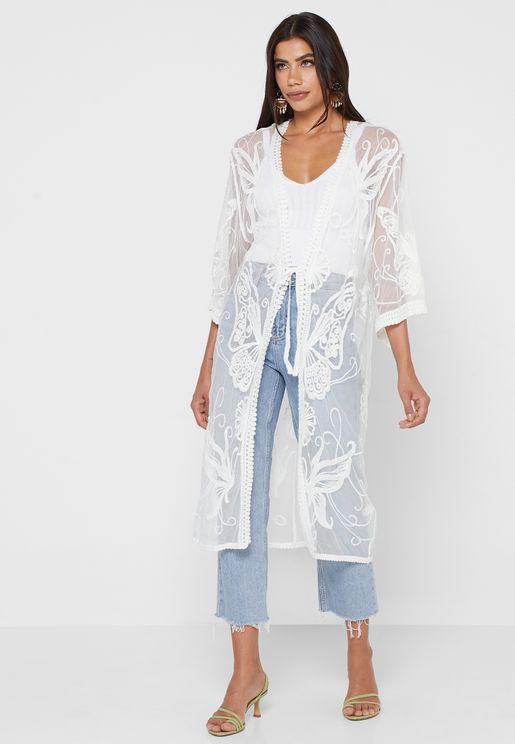 Mesh Embroidered Kimono
