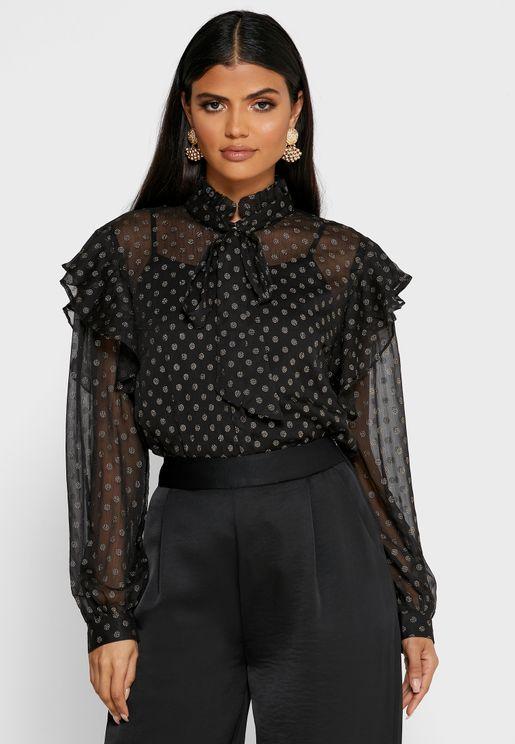 Dot Print Mesh Shirt