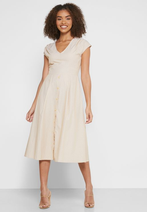 فستان ميدي مخطط بأزرار