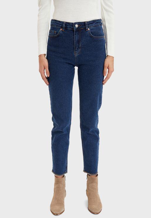 Mid Wash High Waist Jeans