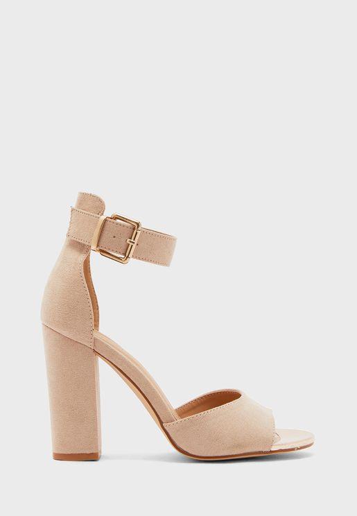 Faux Suede Ankle Strap Block Heel Sandal