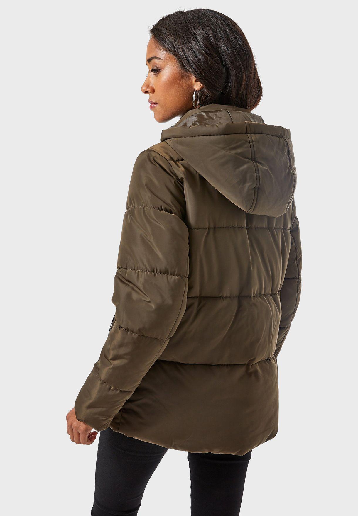 Ladies Dorothy Perkins padded Hooded Parka Coat Jacket Khaki size 14 RRP £69