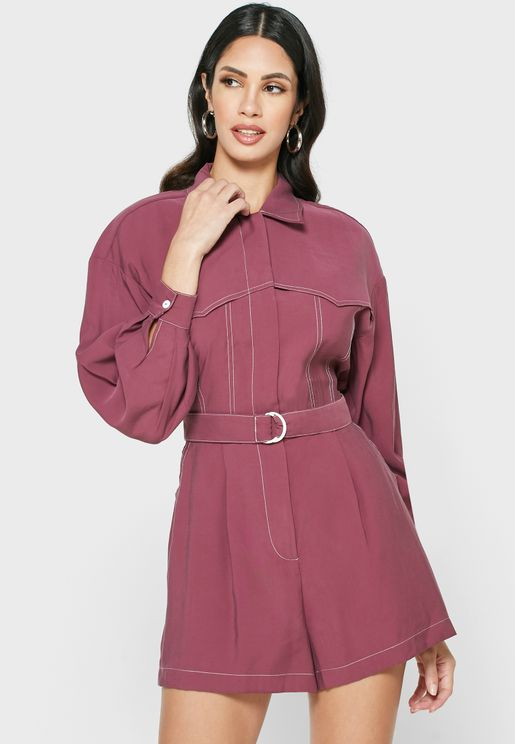 Epiphany Belted Button Down Playsuit