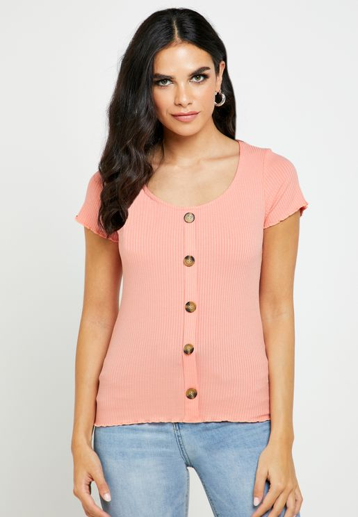 Front Button Ribbed Top