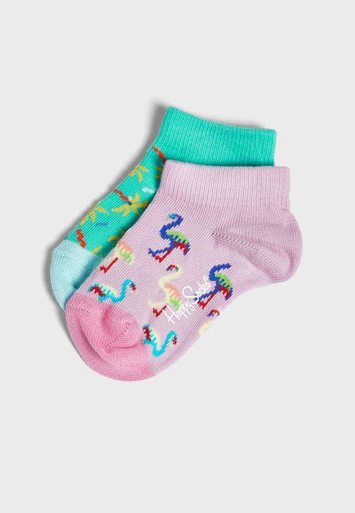 Kids 2 Pack Confetti Palm Ankle Socks