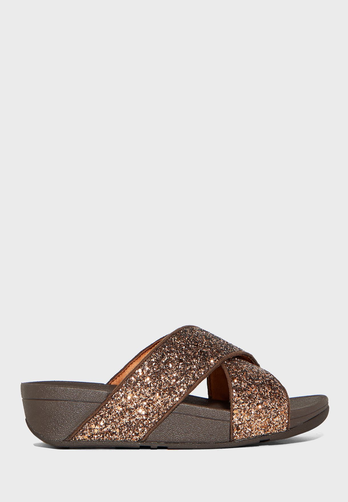 Lulu Glitter Cross Wedge Sandal