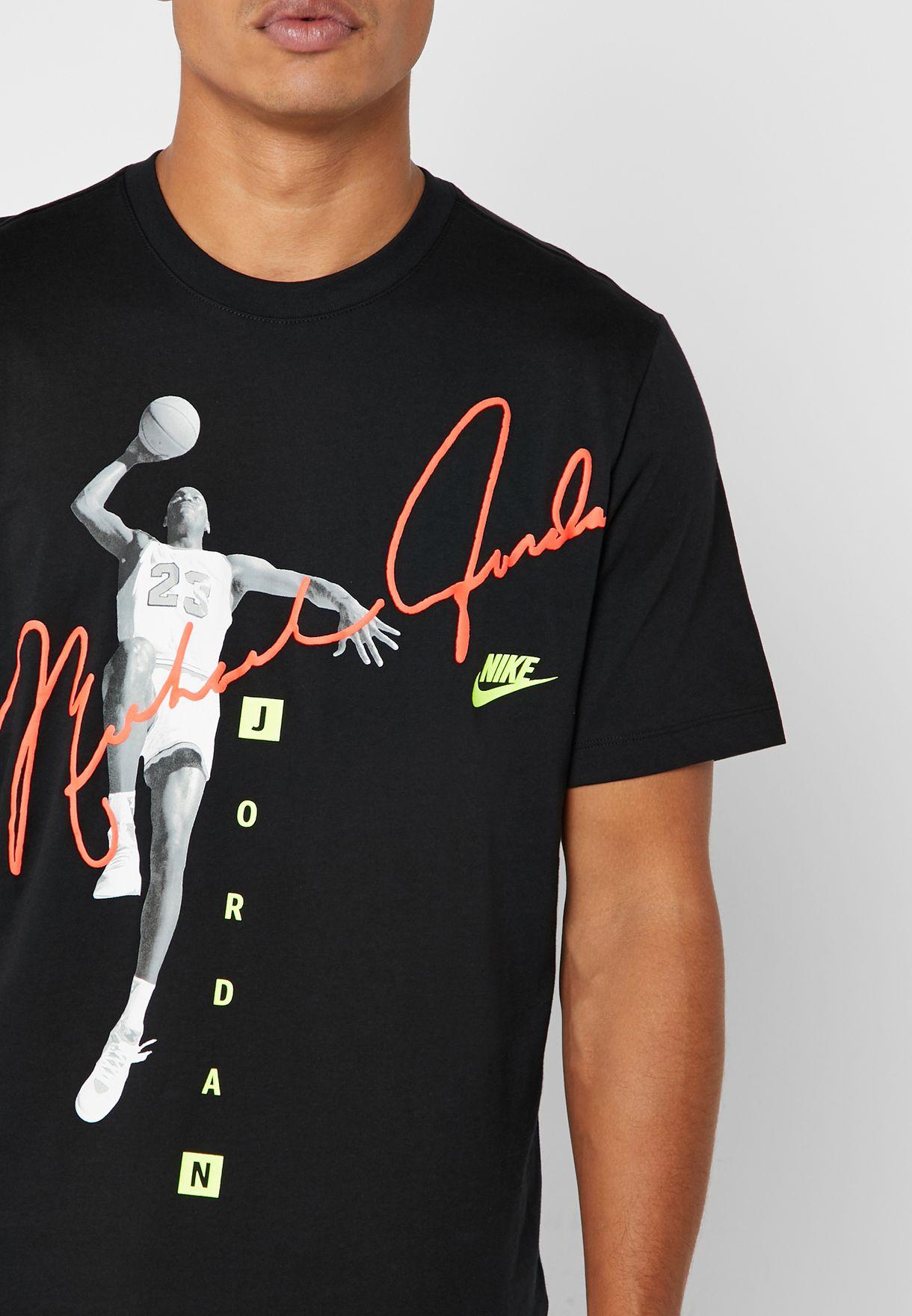 58d4a840fd23 Shop Nike black Micheal Jordan Signature T-Shirt AO0687-010 for Men ...