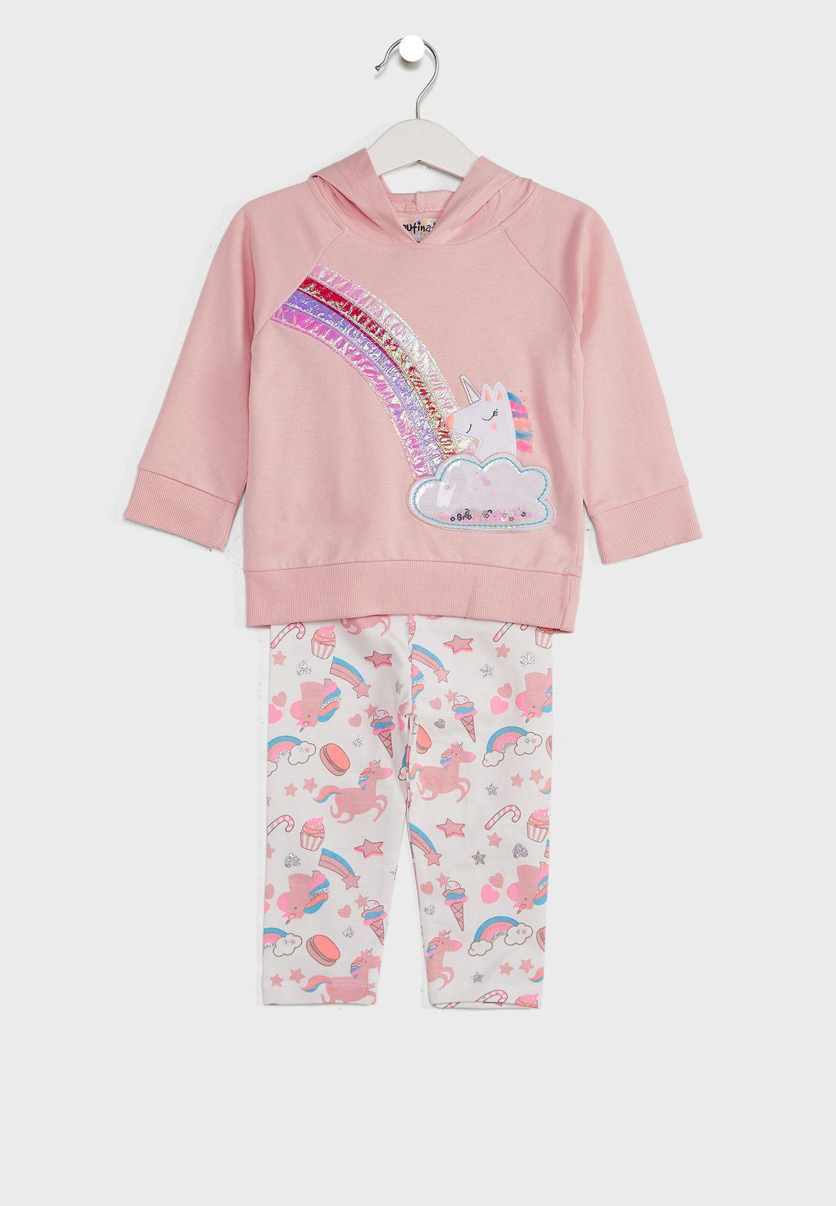 Peach-U Applique Sweatshirt With Pyjamas