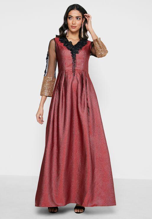 V-Line Neck Embroidered Dress