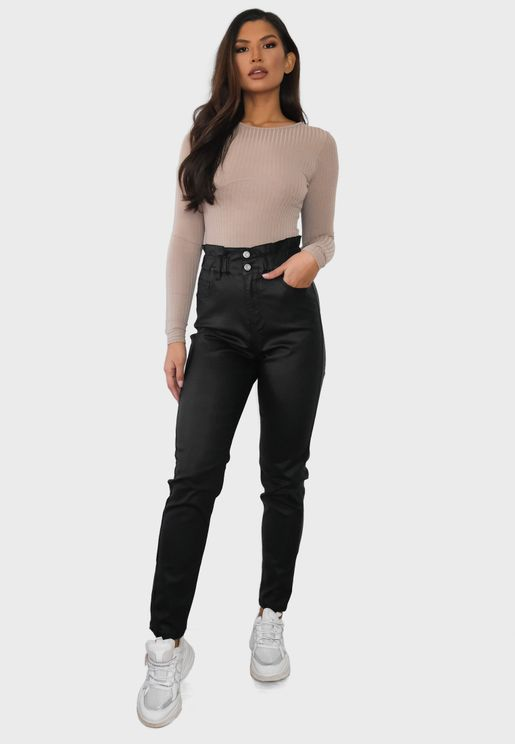 Coated Elasticated Balloon Jeans