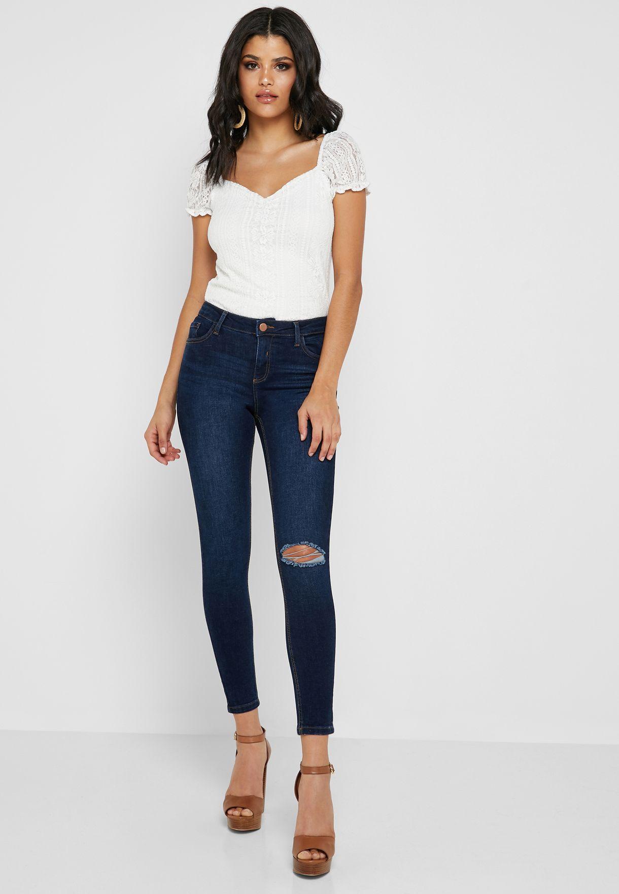 f4b99c3ab1da0 Shop Dorothy Perkins navy Darcy Mid Rise Skinny Jeans 70013002 for ...