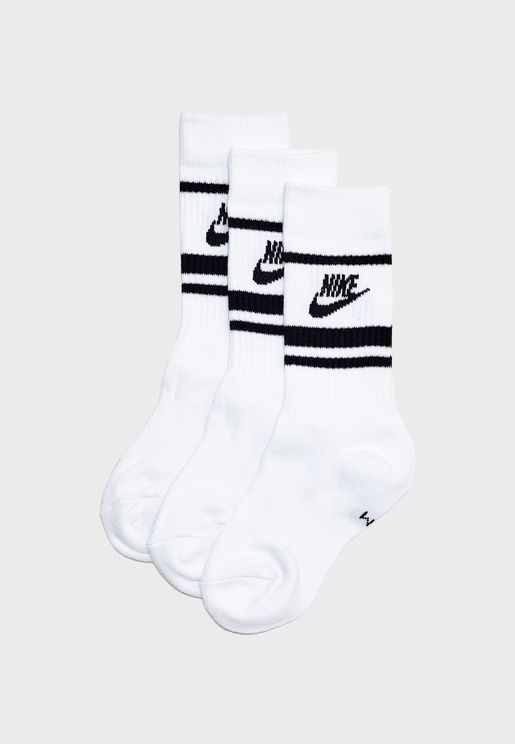 3 Pack Essential Crew Stripe Socks