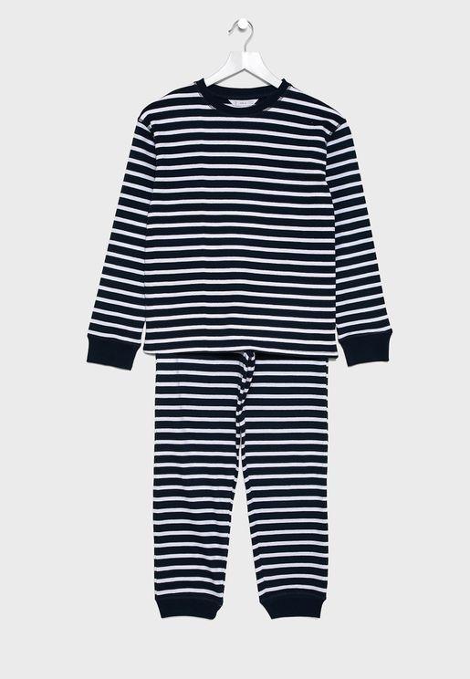 Kids Striped T-Shirt + Pyjama Set