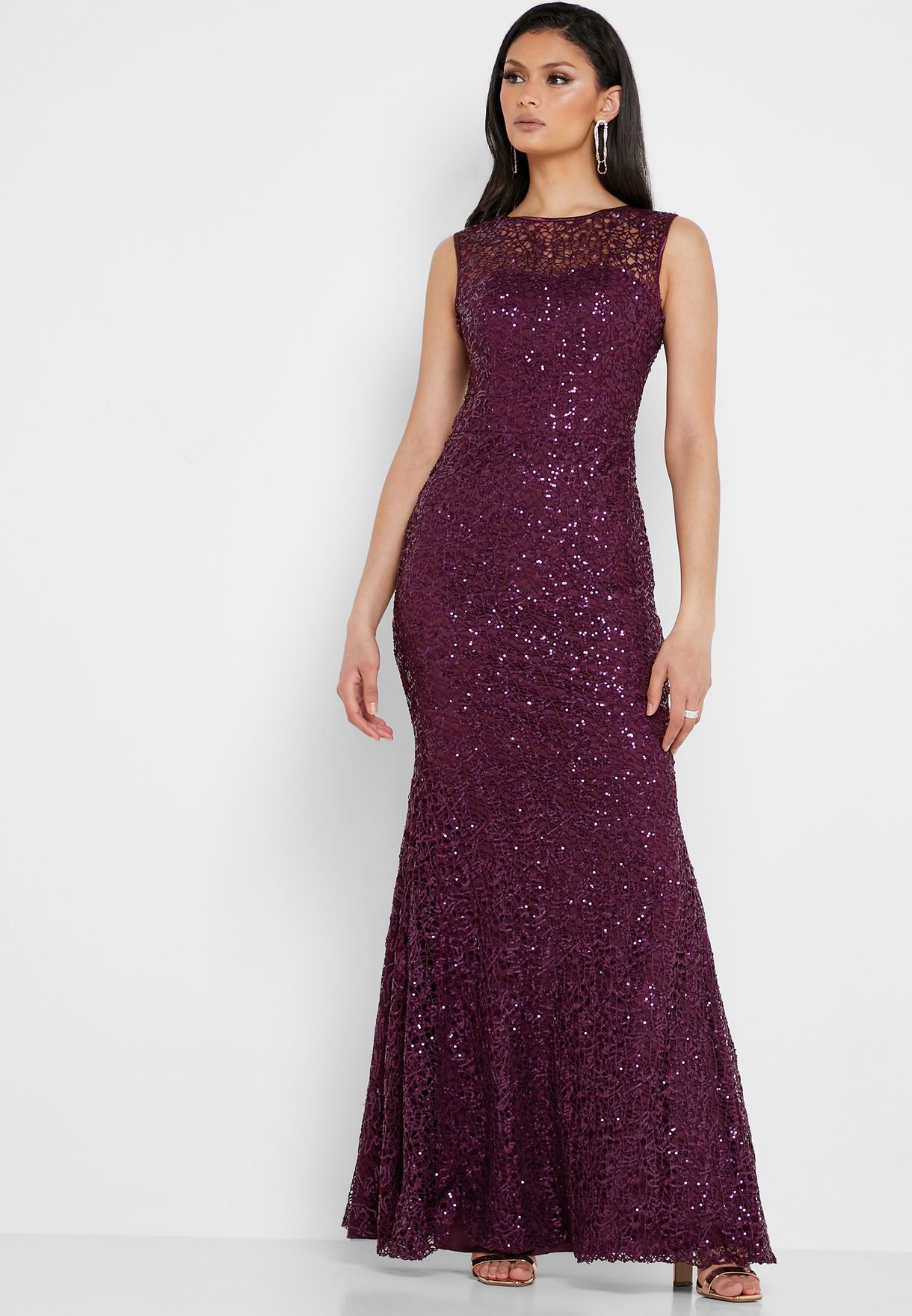 Sequin Low Back Maxi Dress