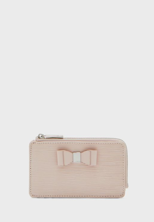 Dillee Patent Bark Bow Detail Zipped Cardholder