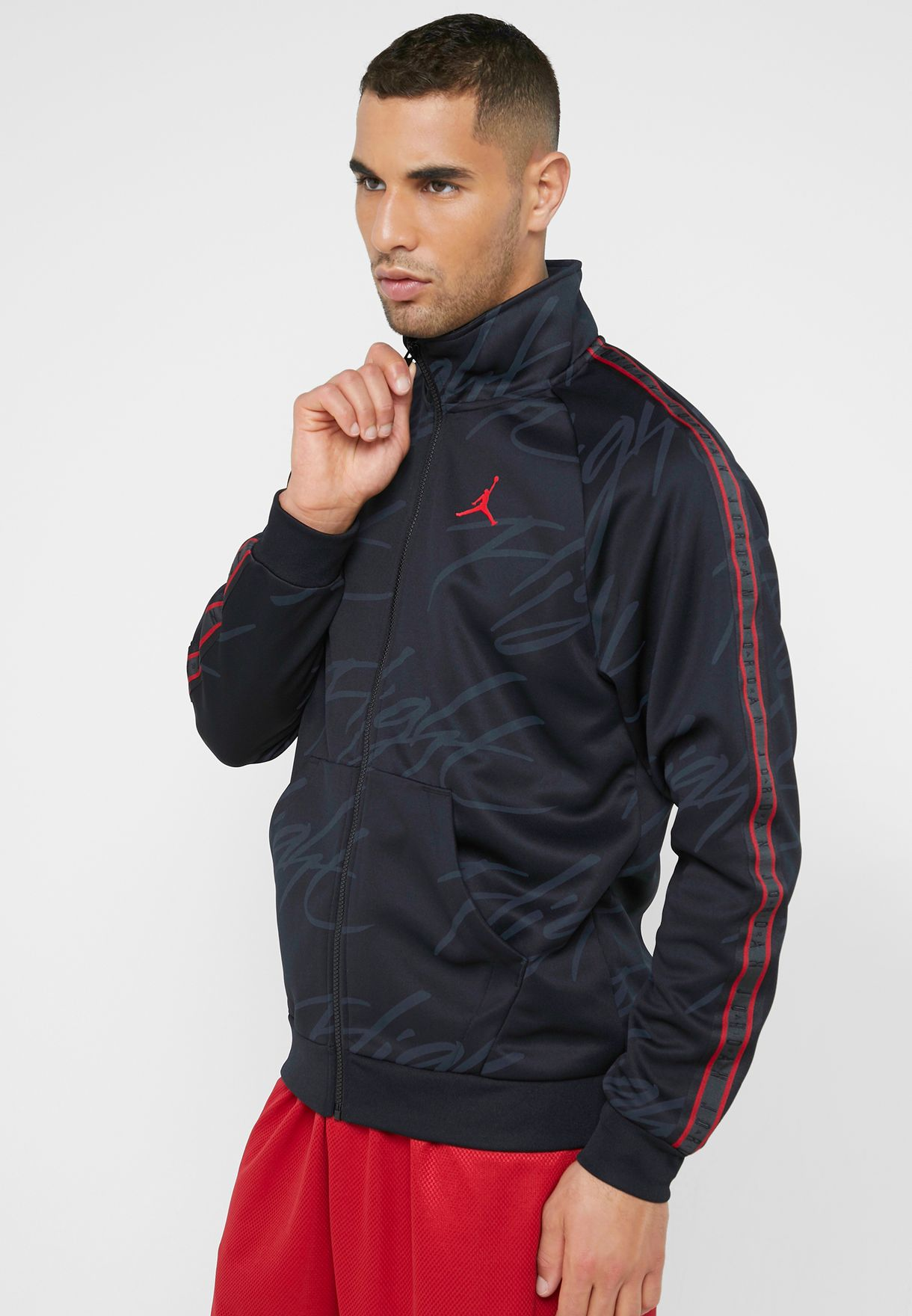 Shop Nike Black Jumpman Tricot Jacket Ar4460 010 For Men
