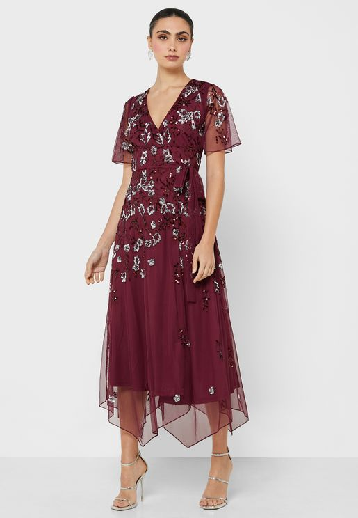 فستان مزين بورورد