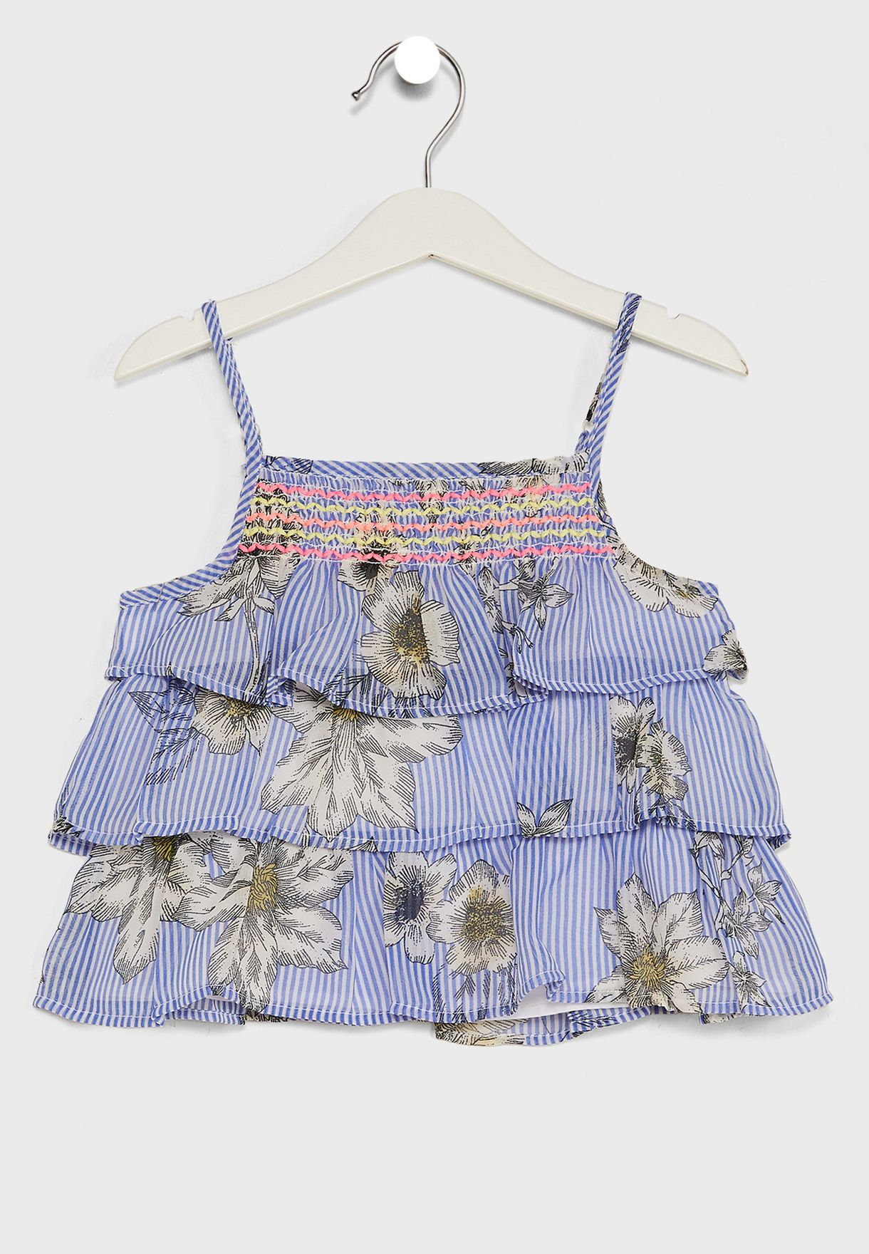 Floral Print Tiered Ruffle Top