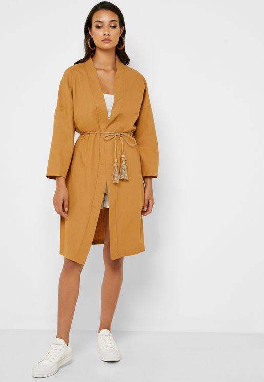 Tassel Belted Longline Kimono