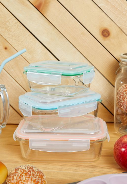 Freska Set of 3 Glass Storage Containers