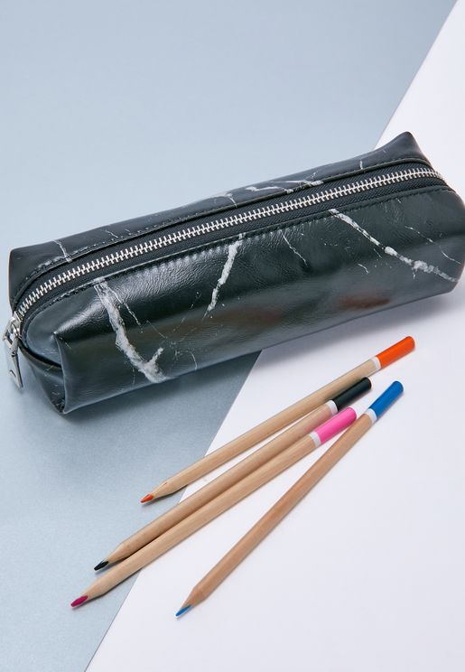 Black Marble Pencil Case