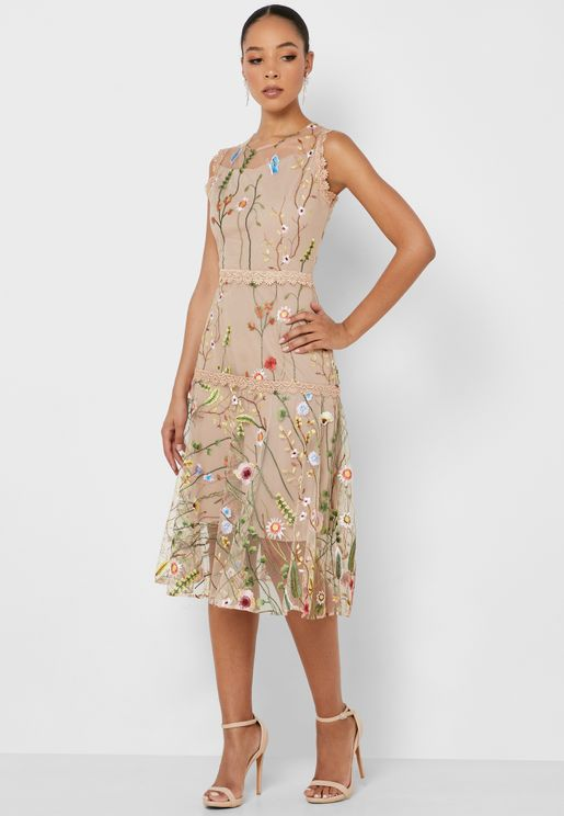 Embroidered Mesh Overlay Midi Dress