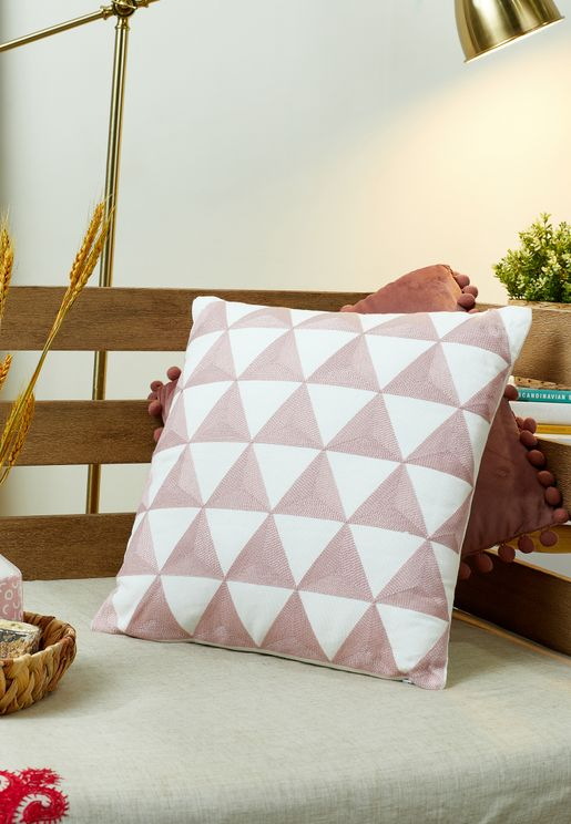 Pink Embroidered Cushion With Insert 45x45cm