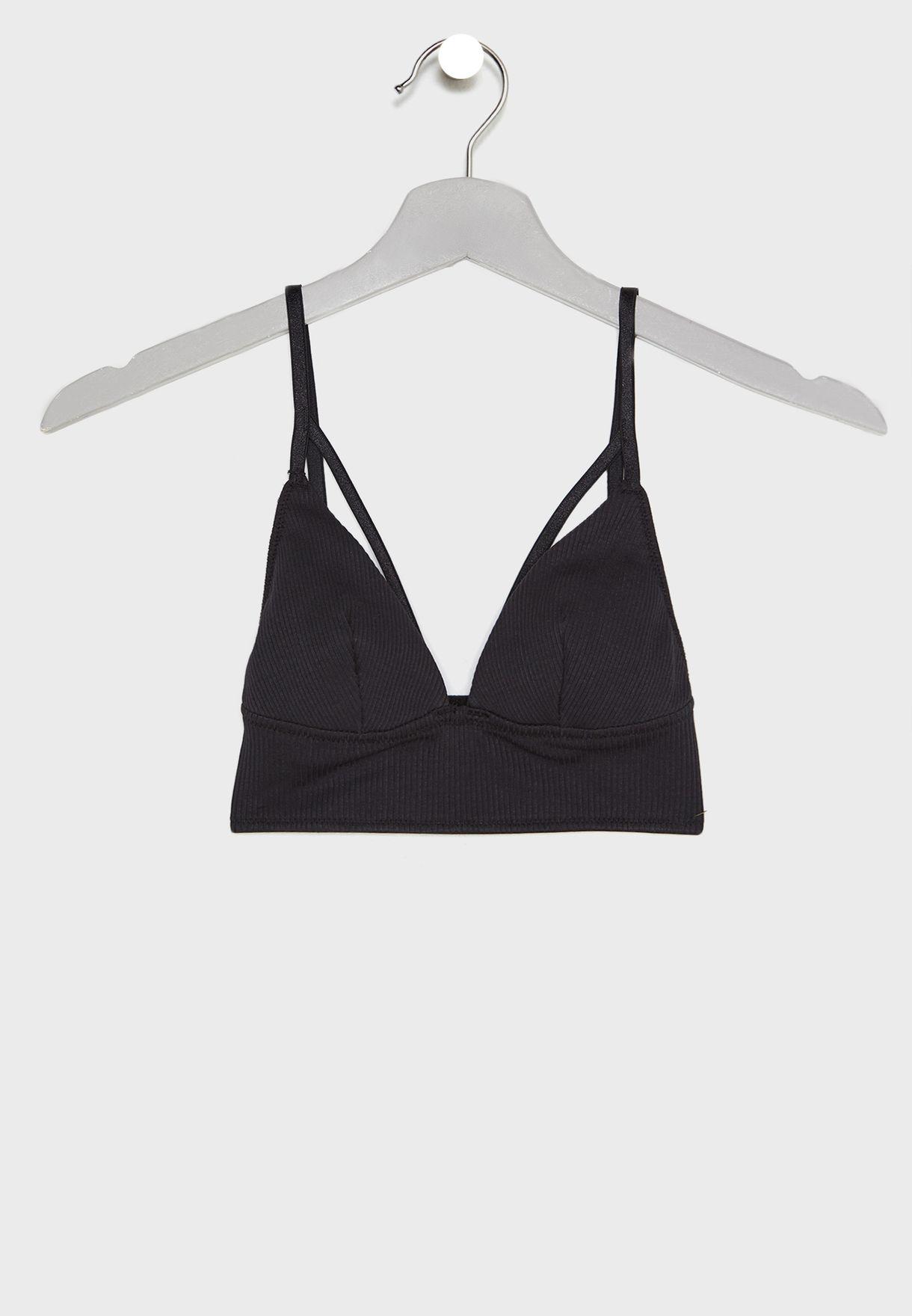 cbad2949901 Shop Topshop black Ribbed Strappy Bralette 43K14PBLK for Women in Saudi -  18832AT41VTP