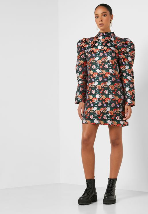 Puff Sleeve Embroidered Dress