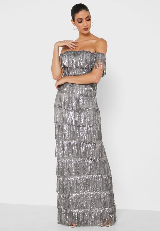 Sequin Tassel Maxi Dress