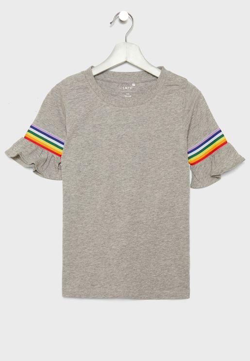 Teen Stripe Detail Sleeves Top