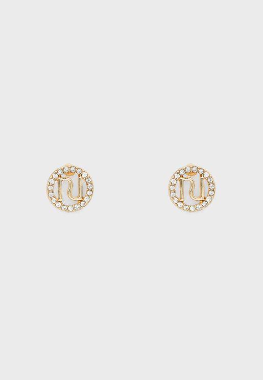 RI Logo Pave Stud Earring