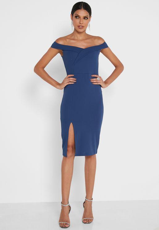 Off Shoulder Slit Dress