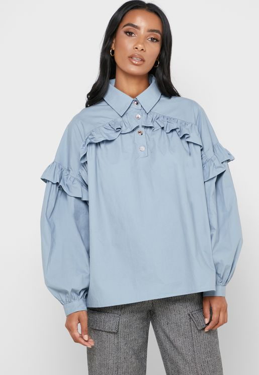 Ruffle Trim Placket Shirt