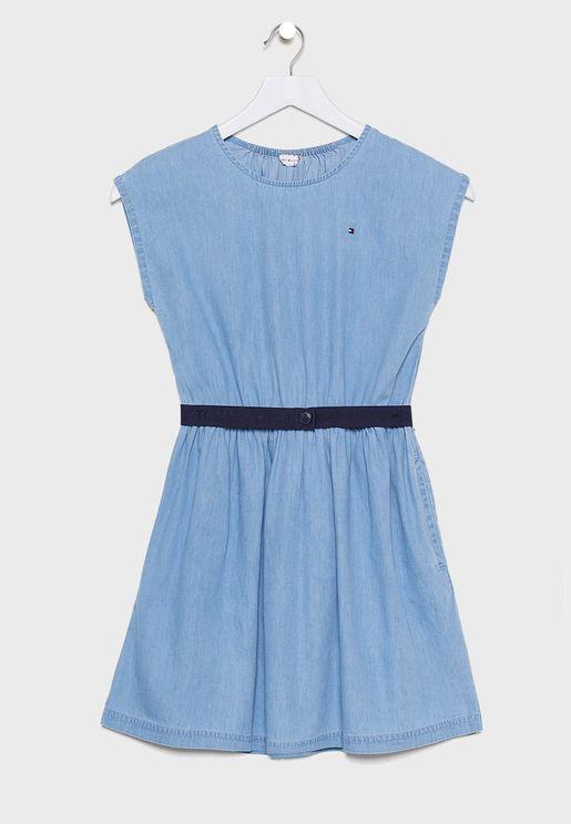 فستان جينز بشعار الماركة