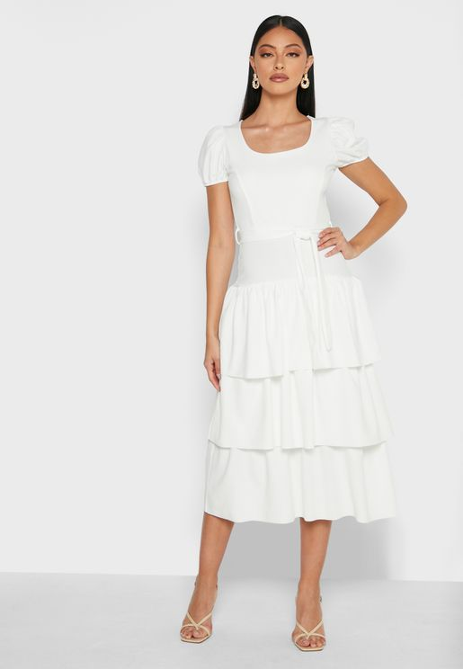 Round Neck Puff Sleeves Tiered Midaxi Dress