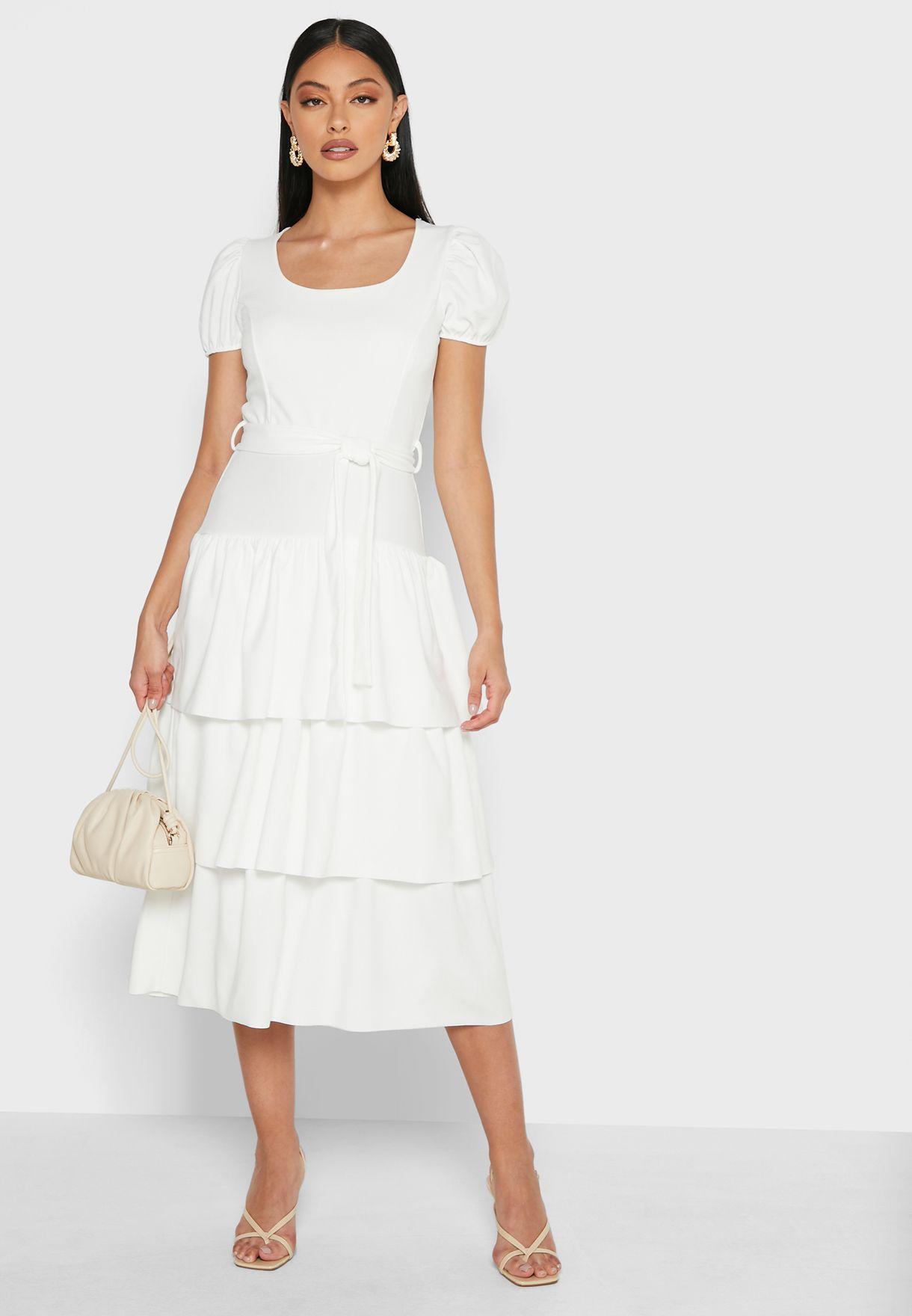 فستان ميداكسي بأكمام منفوشة