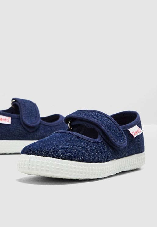 Kids Shimmer Detail Velcro Slip On